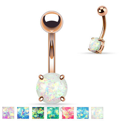 "14GA 3/8"" Synthetic Opal Glitter Prong Set Rose Gold IP Belly Button Naval Ring"