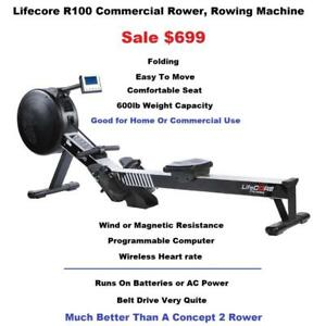 Lifecore R100 Commercial Or Home Rower, Rowing Machine, Folds,Warranty, 600lb Weight Capacity, Wind/ Magnetic Resistance