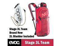 EVOC Rucksack - Bag - Stage 3L Team - Red - BRAND NEW + Water Bladder