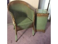 Original Lloyd Loom 'Lusty' chair and glass topped bin stamped 1937