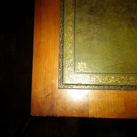 Bargain Large Reproduction Library Desk with Green Leather Top