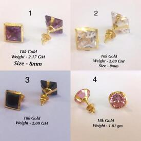 18k real Gold - earring STUDS - with different colour Diamond