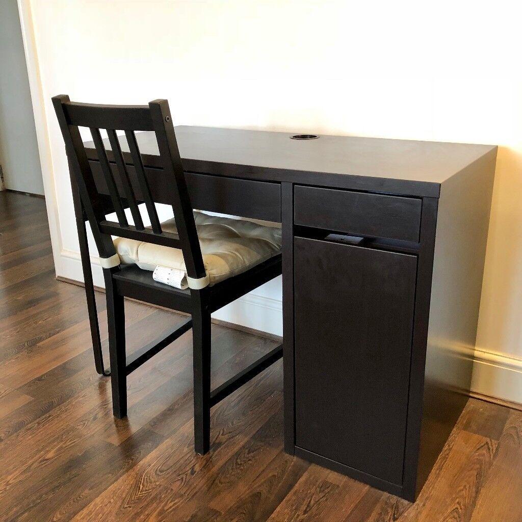 Dark Brown Wood Ikea Micke Desk And