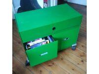 2 VITRA green steel filling cabinets (heavy)