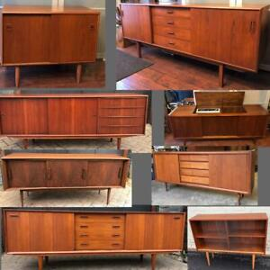 REFINISHED Mid Century Modern Teak, Walnut, Rosewood Sideboards TV Media Consoles Buffets Displays Shelving Credenzas