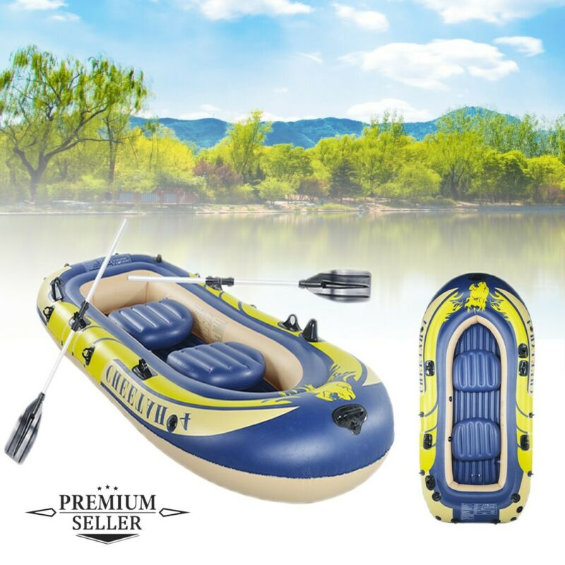 2-4 Person Inflatable Boat Kayak Raft For Fishing Drifting D