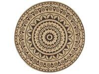 Handmade Rug Jute with Dark Brown Print 150 cm-133706
