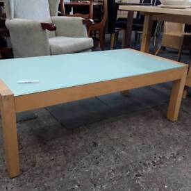 Rectangular Pale Blue Frosted Glass Coffee Table