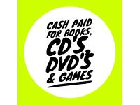 Books, CD'S DVD's & Games Wanted Will Pay & Collect