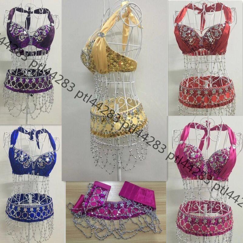 Belly Dance New Handmade Bead Costume Set (Bra+ Belt)  Outfit 5 Colors CZZT