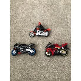 3 x toy motorbikes