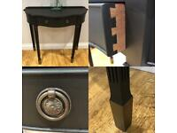 Vintage console hall side coffee half moon table matte black antique gold feet