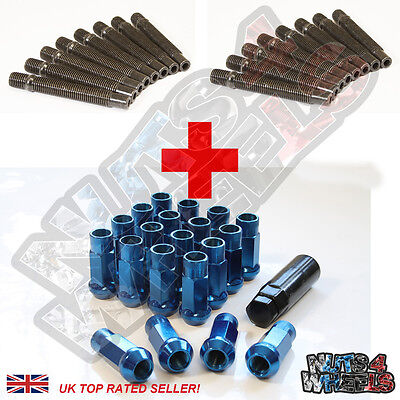16 Wheel Stud Conversion kit GT50 Blue Nuts 90mm (+25) fit Renault Clio 5 9 21