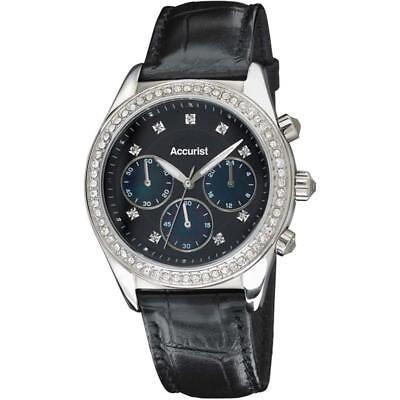 Accurist LS410B Ladies Crystal Set Black Dial Leather Strap Watch RRP £139.99