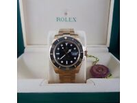 Gold Black Rolex Submariner Comes Rolex bagged and Boxed with Paperwork