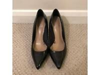 Florence and Fred Black Pointed patent shoes