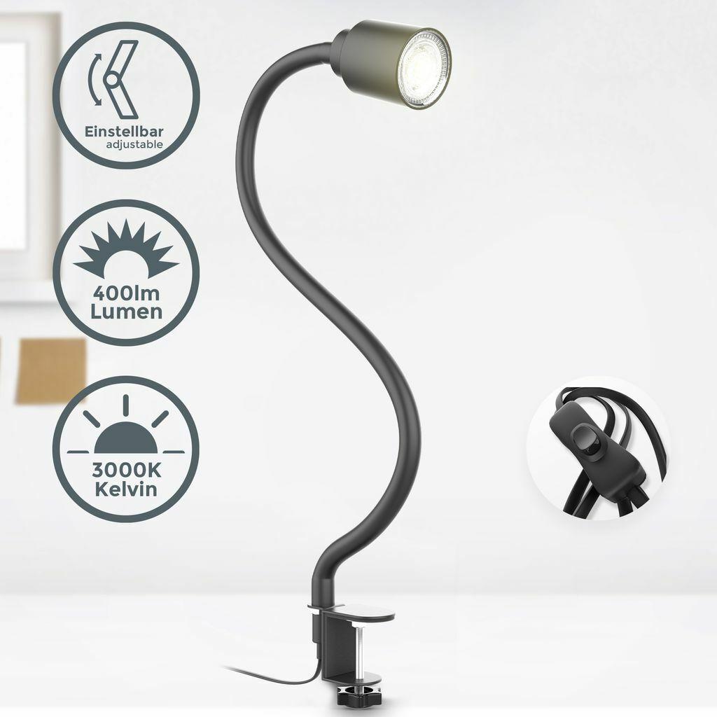 Kein Stecker//Adapter USB Schreibtischlampe Leselampe Klemmleuchte 3 Farb und 10 Helligkeitsstufen Dimmbar klemmlampe 360/°Flexibel and Speicherfunktion Klemme Bettlampe
