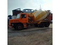 Left hand drive Scania 112H 320 HP Turbo 6X4 10 tyres 36 Ton CIFA 12 m3 concrete mixer.