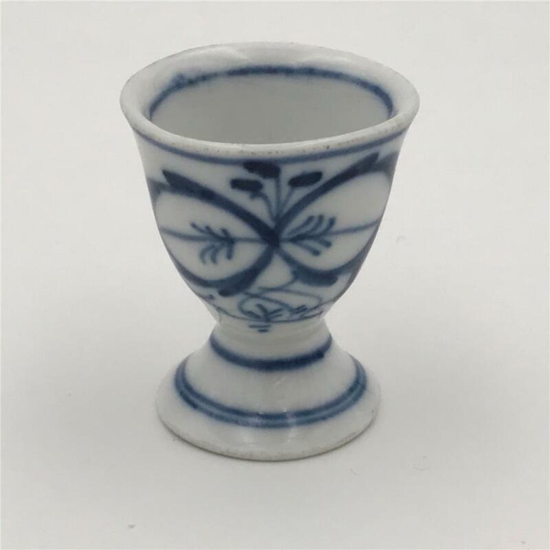 Antique Blue Onion Hand Painted Small Porcelain Egg Cup