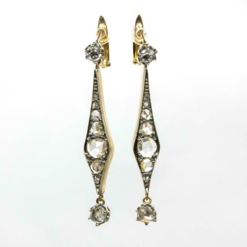 Antique Victorian 925 Sterling Silver 0.56Ctw Rose Cut Diamond Earring For Women
