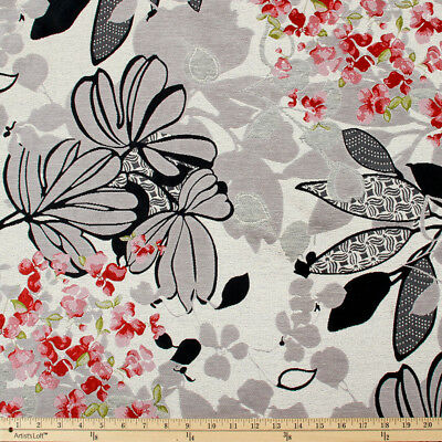 3 YDS LOVELY CLARIDGE TEXTILES BLOSSOM SO WISE FLORAL JACQUARD UPHOLSTERY FABRIC