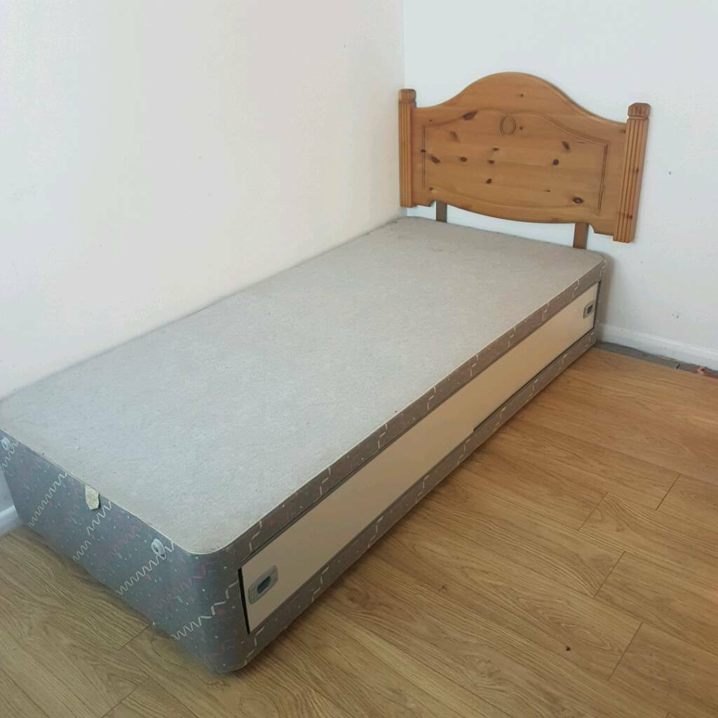 Single Divan bed base with headboard