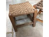 Woven wooden foot stools x2