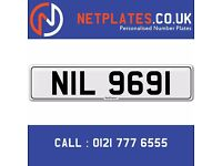 'NIL 9691' Personalised Number Plate Audi BMW Ford Golf Mercedes VW Kia Vauxhall Caravan van 4x4