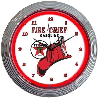 Texaco Fire Chief Gasoline Neon Clock 15x15