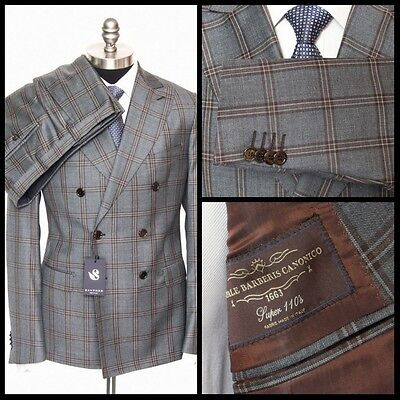 Mens SARTORE Gray Plaid Super 110s Wool Double Breasted Suit 52 42 R fits 40 NWT