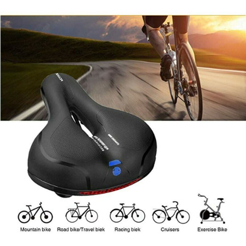 Comfortable Waterproof Memory Foam Bicycle Seat CushionBicycles W//Reflective US