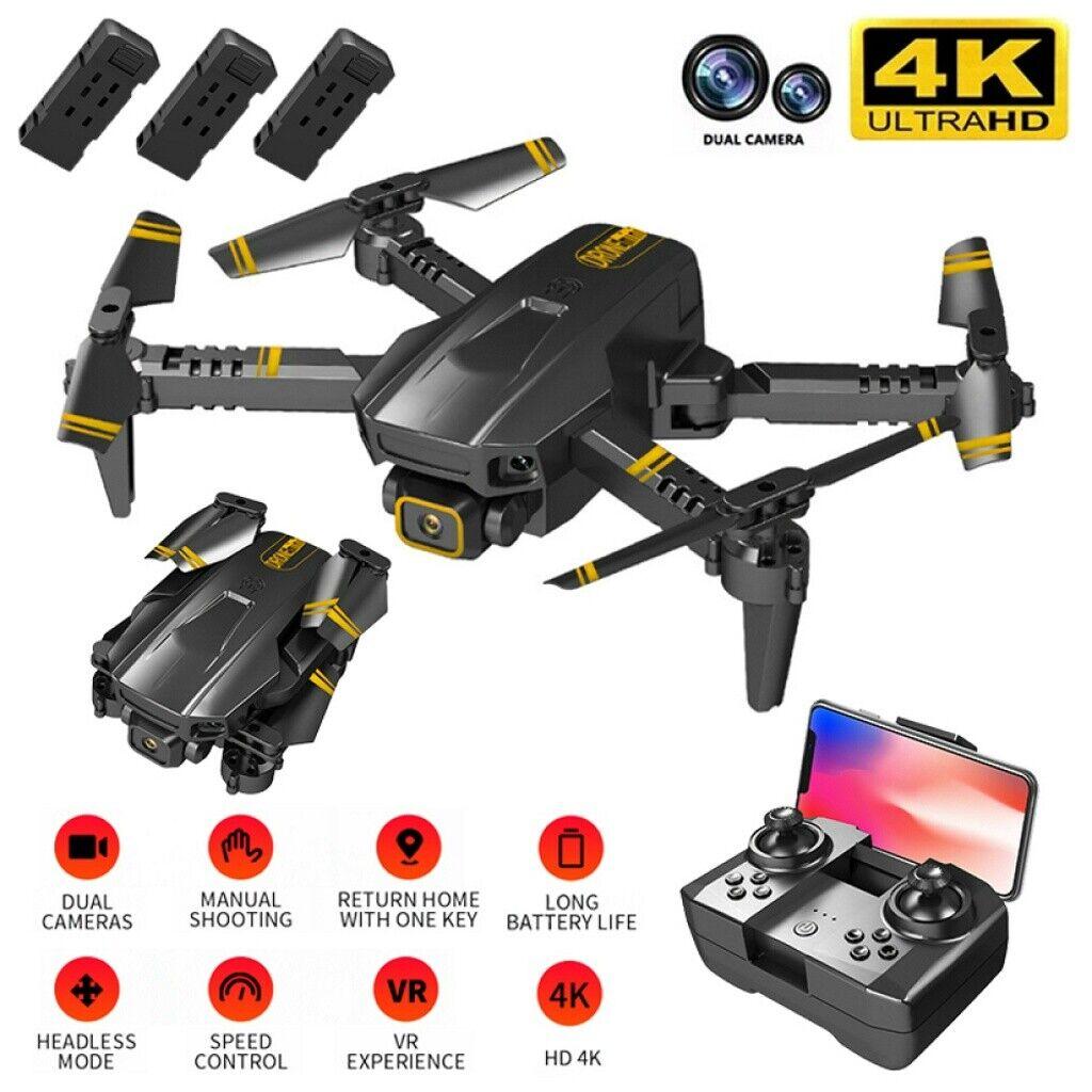 Drohne mit 4K Dual Kamera HD und GPS Follow Me, WiFi RC Quadrocopter,3 Akkus