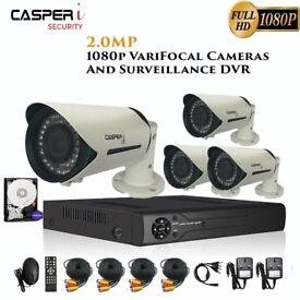 CASPERi 2MP Bullet Cameras & 1080P HD DVR kit 2.8mm-12mm VariFocal Lens 40M IR With 1 TB HDD