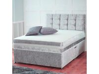 VERY CHEAP PRICE *** CRUSHED VELVET DIVAN BED BASE STORAGE BED + HEADBOARD SINGLE DOUBLE KING