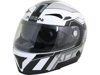 Duchinni D405 XRR Motorcycle Helmet Size 61-62cm XL White / Silver, Extra Large - 46496