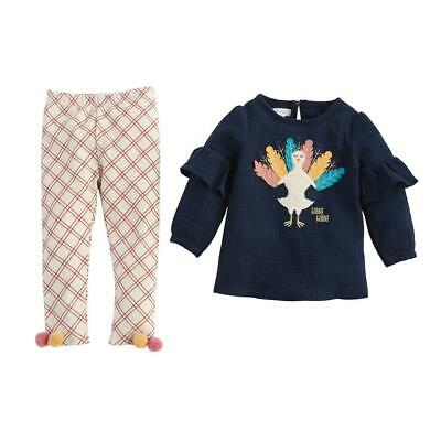 Kids Thanksgiving (Mud Pie Kids Girls Thanksgiving Chambray Turkey Tunic Top and Legging)