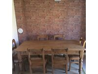 RECLAIMED PINE VINTAGE TABLES & CHAIRS 6 SEATER 9.5-10 cond