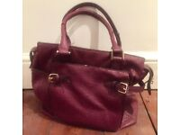 WAREHOUSE Purple Ostrich Leather Effect Handbag