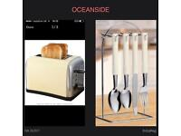 New prolex cream toaster and 24 piece cutlery