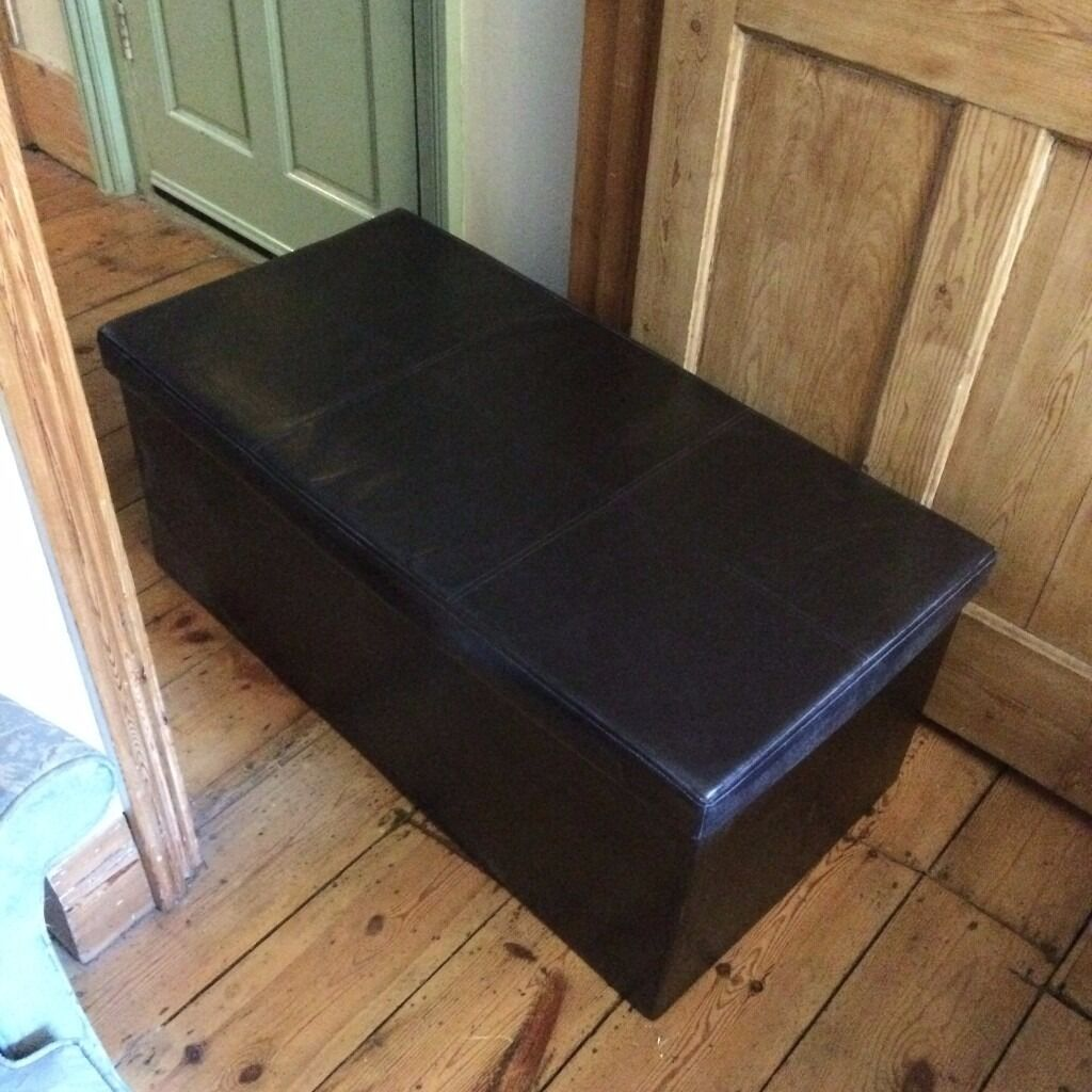 argos leather effect ottoman toy storage with stitching. Black Bedroom Furniture Sets. Home Design Ideas
