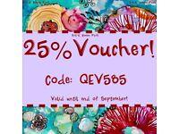 25% off Voucher valid until end of September!