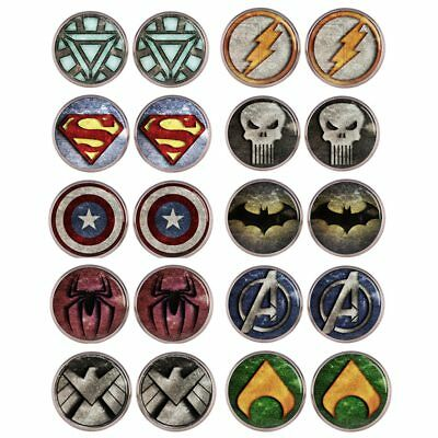 Superhero Symbol Marvel DC Silver Golden Plated Woman Stud Earring Jewelry gift