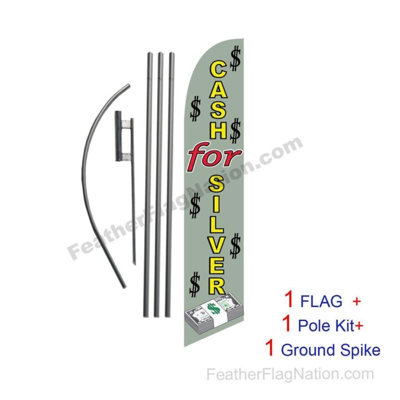 Cash for Silver Banner Swooper Flag Kit with pole+spike