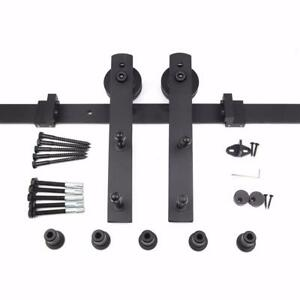 HK00 Sliding Barn Door Hardware Kit, 6.6 ft Track, Straight Hangers