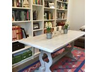 Beautiful shabby chic refectory style limed oak look kitchen/dining table