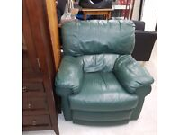 Recliner leather armchair green