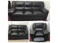 Brown leather 3/2/1 Seater sofas comfortable durable clean