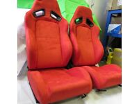 Pair of Red Suede Leather Sport Seats - Bucket Seat / Reclining Seats - Racing Car Seats - Runners