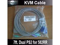 NEW SEALED DELL 00G628 0J5474 Dual Kvm 7ft Cable for Dell 582RR 16 Port KVM Switch