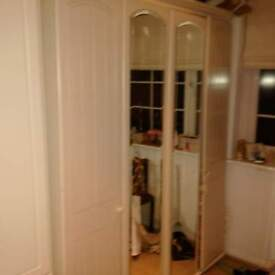 double wardrobe in cream with light wood from